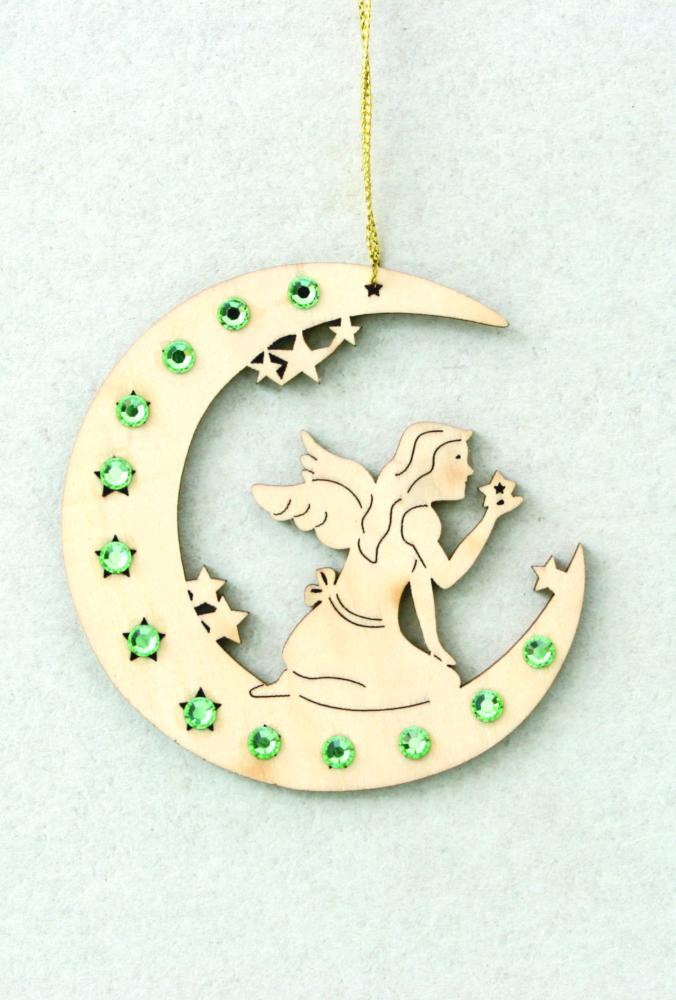 Swarovski Christmas Tree Decoration Set : Moon with fairy and swarovski crystall dolfi