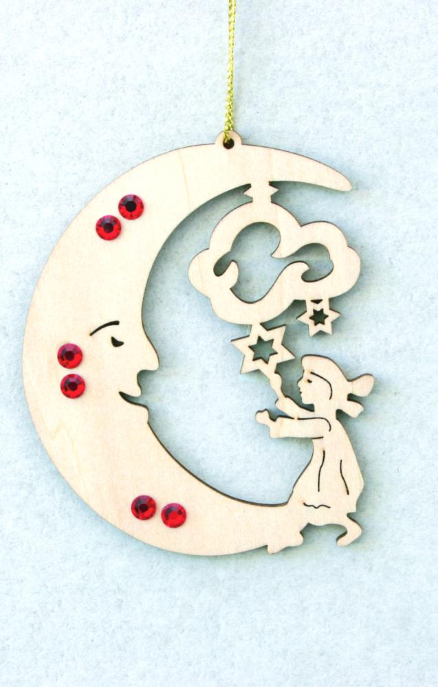 Moon with baby and swarovski crystall dolfi for Baby christmas tree decoration