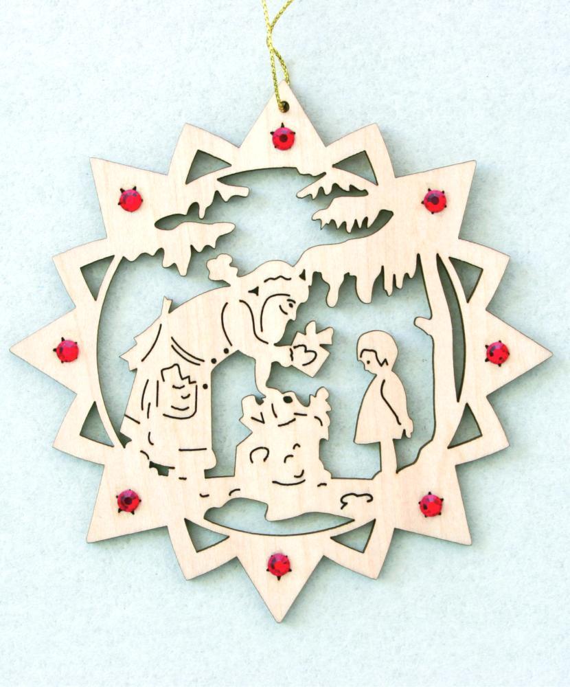 Swarovski Christmas Tree Decoration Set : Santa with gifts and swarovski crystall dolfi