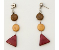 Hand carved wooden earrings
