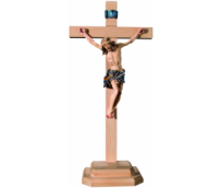 Body of Christ on straight cross and wooden base