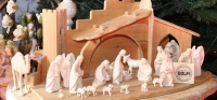 Hand carved wooden Nativity scenes and figurines