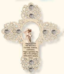 Cross with angel and little prayer and Swarovski