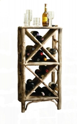 Bottle rack in the roots of forest